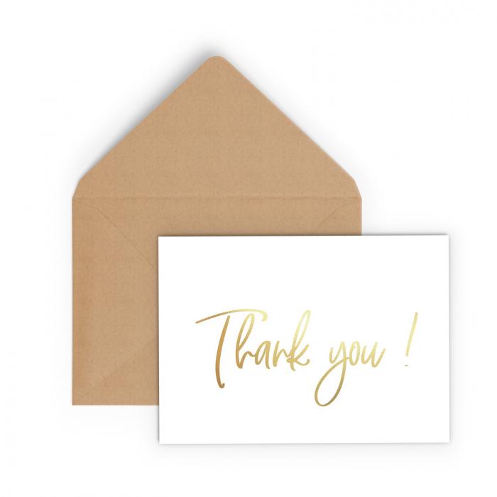 Felicitare cu plic, Thank you, colaj auriu, caligrafie 0