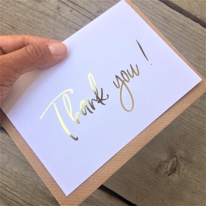 Felicitare cu plic, Thank you, colaj auriu, caligrafie 2