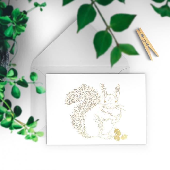 Felicitare cu plic, Veverita, colaj auriu, ilustratie originala, animalele padurii 1