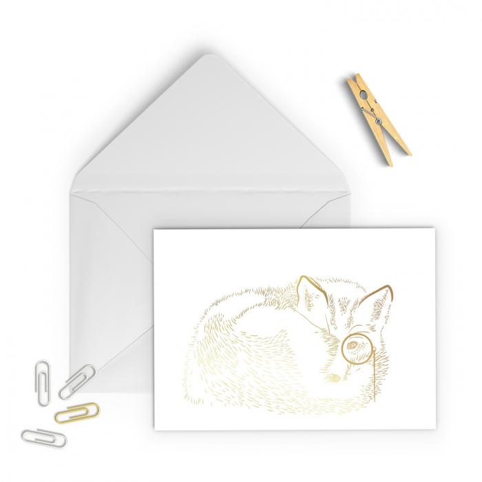 Felicitare cu plic, Vulpea cu monoclu, colaj auriu, ilustratie originala, animalele padurii 1