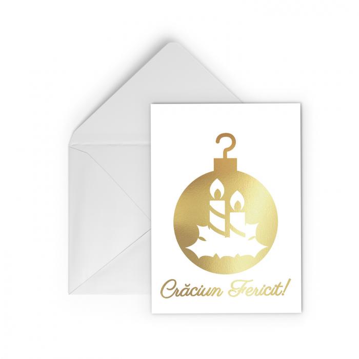Felicitare Glob cu Brad de Craciun, colaj metalic auriu, cadou de Craciun 0