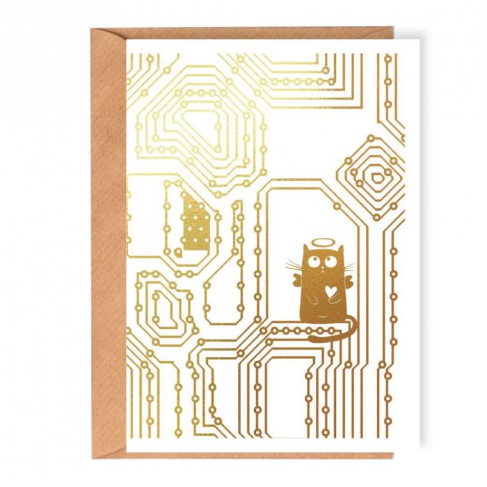 Felicitare, Pisica electronist [0]