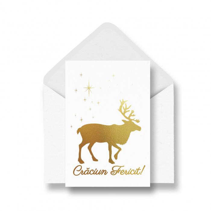 Felicitare Renul lui Mos Craciun, colaj auriu pe carton alb [0]