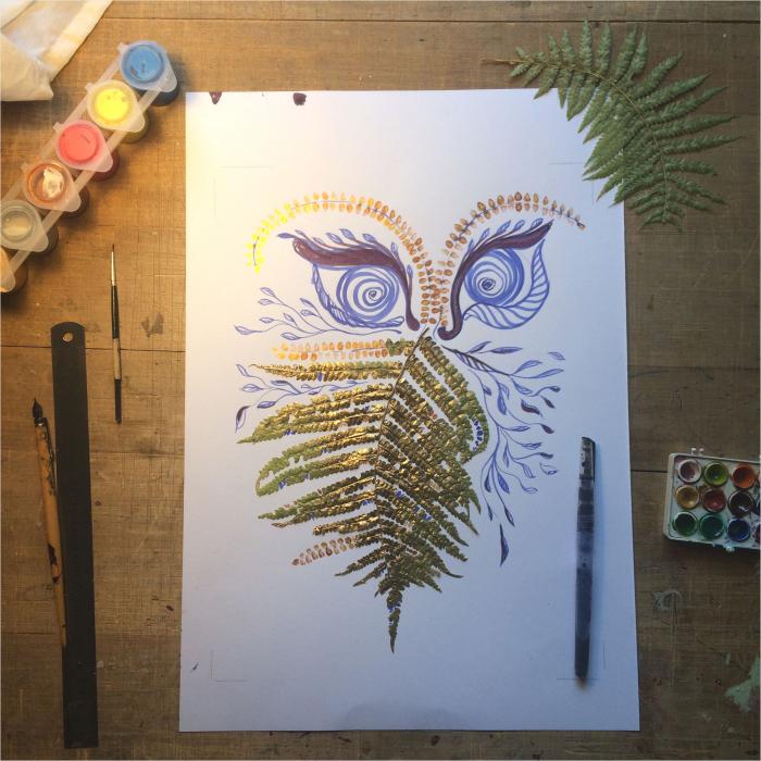 Feriga Barba - ilustratie in tehnica mixta, plante presate, tus si vopsea acrilica 5