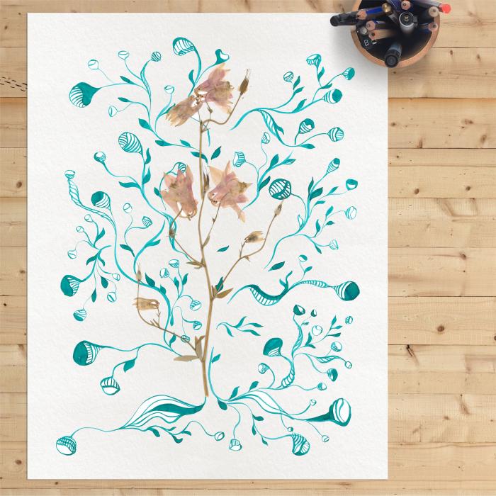 Floare Copac - ilustratie in tehnica mixta, plante presate, tus si vopsea acrilica 4