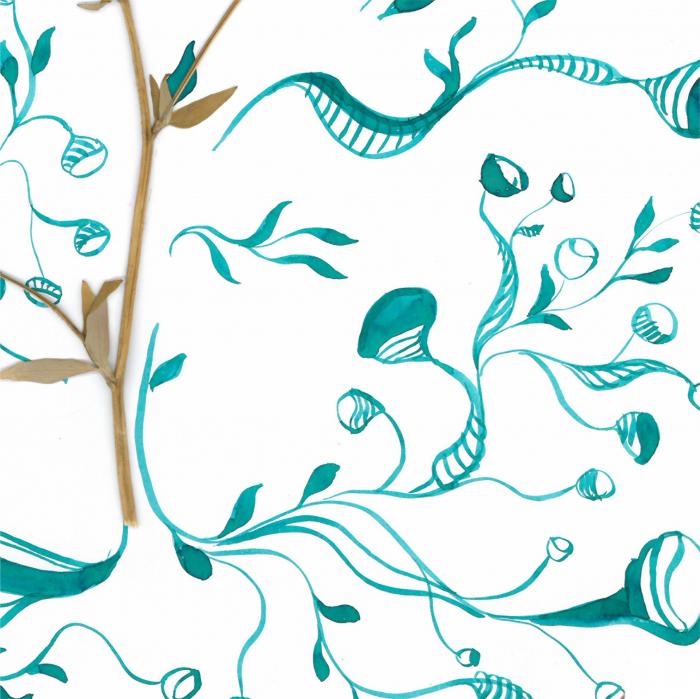 Floare Copac - ilustratie in tehnica mixta, plante presate, tus si vopsea acrilica 3