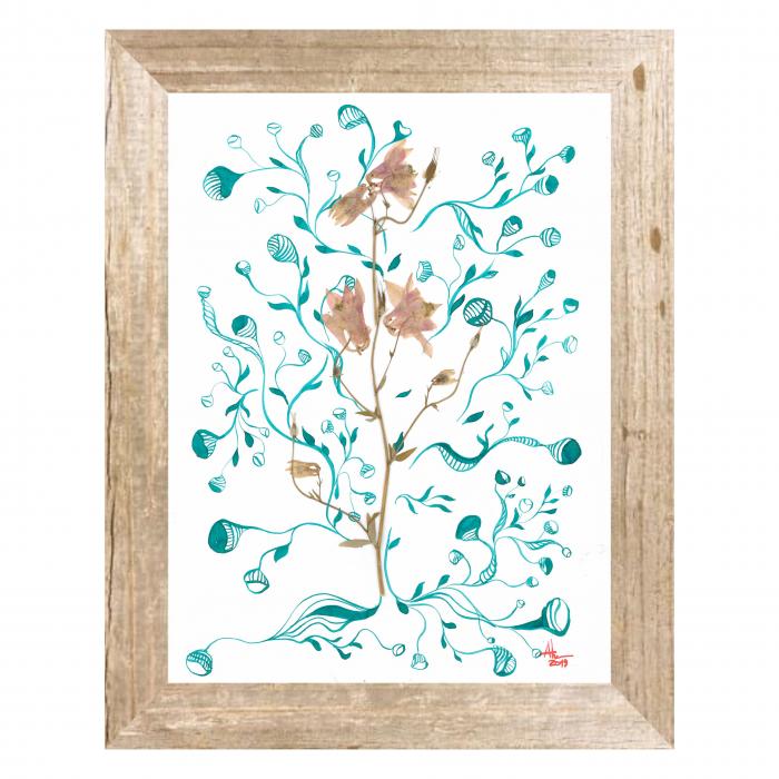Floare Copac - ilustratie in tehnica mixta, plante presate, tus si vopsea acrilica 0