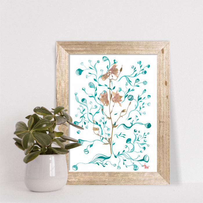 Floare Copac - ilustratie in tehnica mixta, plante presate, tus si vopsea acrilica 5