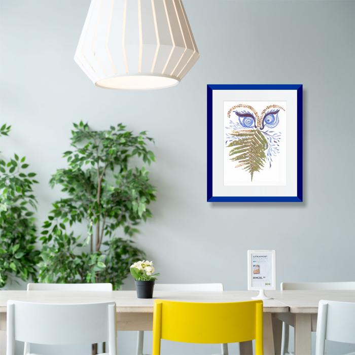 Feriga Barba - ilustratie in tehnica mixta, plante presate, tus si vopsea acrilica 2