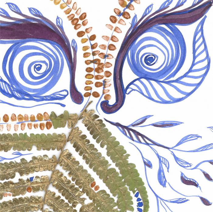 Feriga Barba - ilustratie in tehnica mixta, plante presate, tus si vopsea acrilica 4
