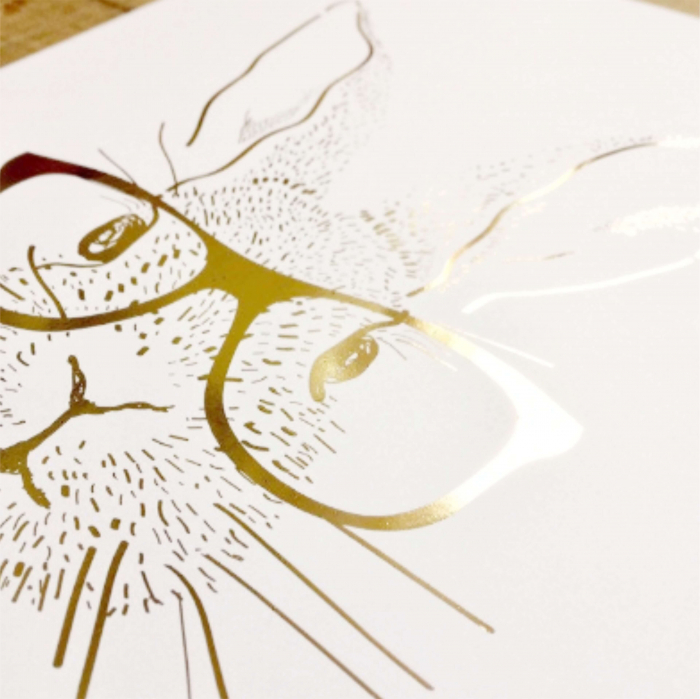 Iepure cu Ochelari, colaj metalic auriu [6]