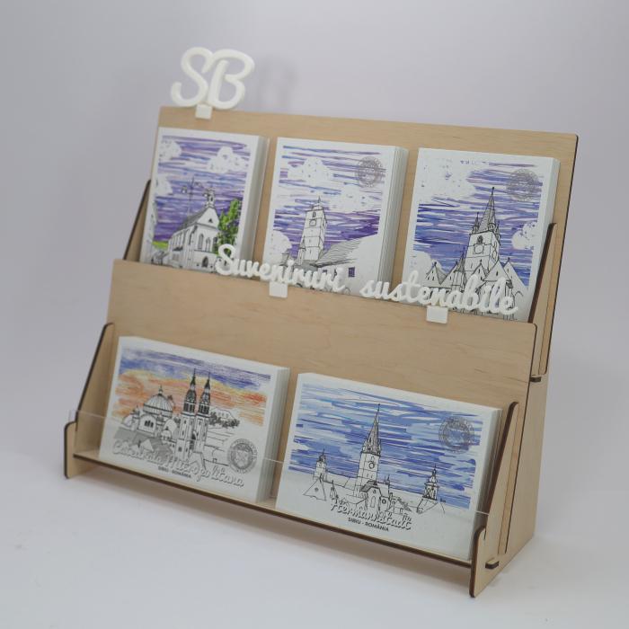 Stand cu 5 seturi de carti postale, Sibiu 2