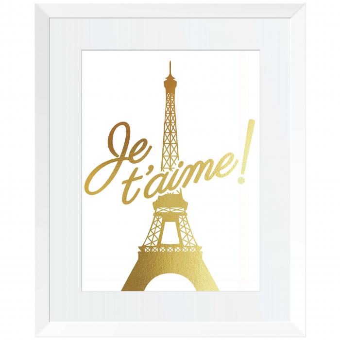 Poster Je t'aime Paris, 21x30cm, colaj metalic auriu [0]