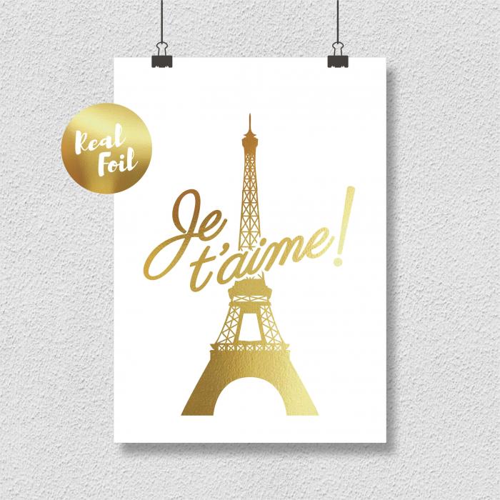 Poster Je t'aime Paris, 21x30cm, colaj metalic auriu [1]