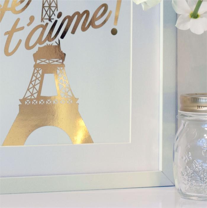 Poster Je t'aime Paris, 21x30cm, colaj metalic auriu [3]