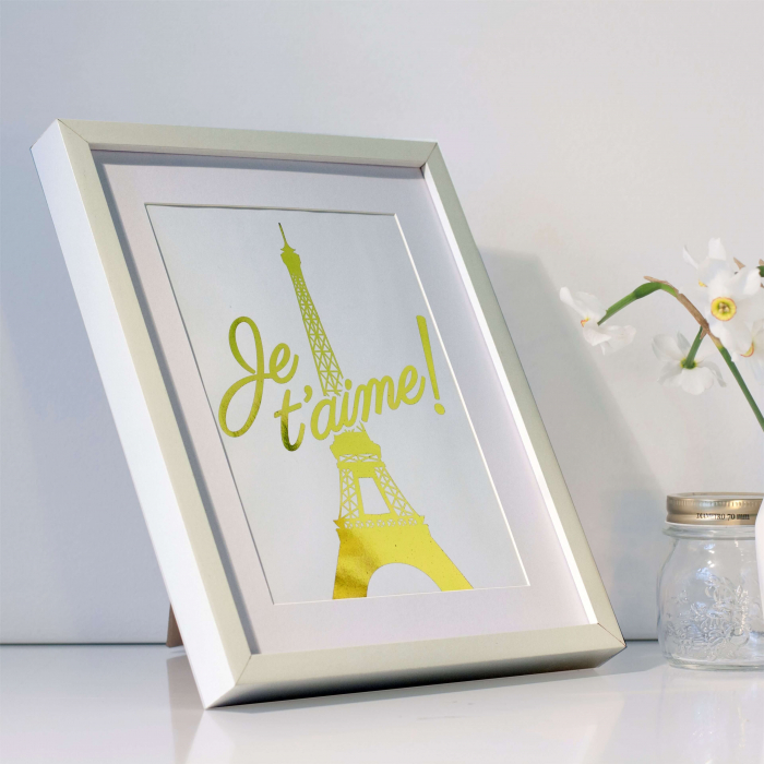 Poster Je t'aime Paris, 21x30cm, colaj metalic auriu [4]