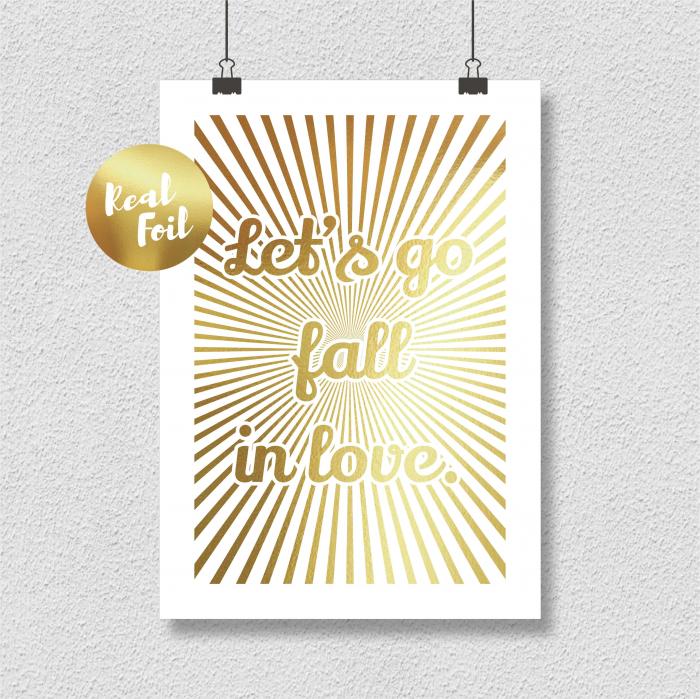 Let's go fall in love, colaj metalic auriu, cadou indragositi 6