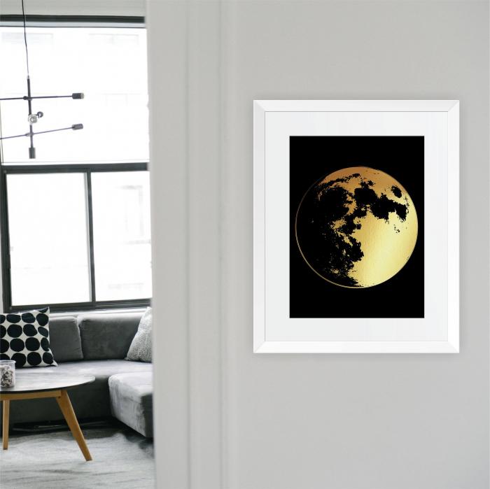 Luna Plina, colaj metalic auriu 4