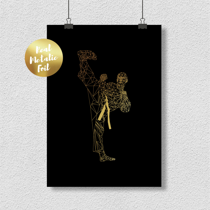 Tablou Luptator, arte martiale, colaj metalic auriu, inramat, 24x30 cm [2]
