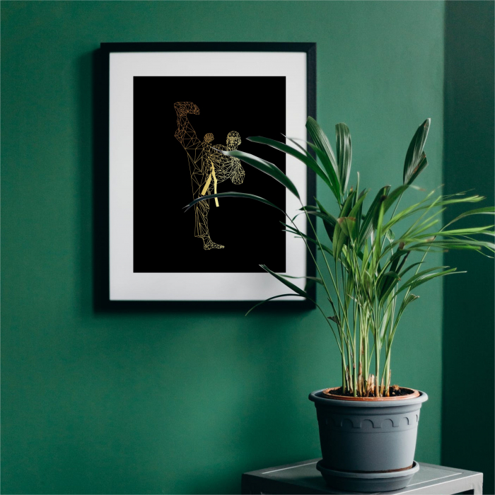 Tablou Luptator, arte martiale, colaj metalic auriu, inramat, 24x30 cm [3]