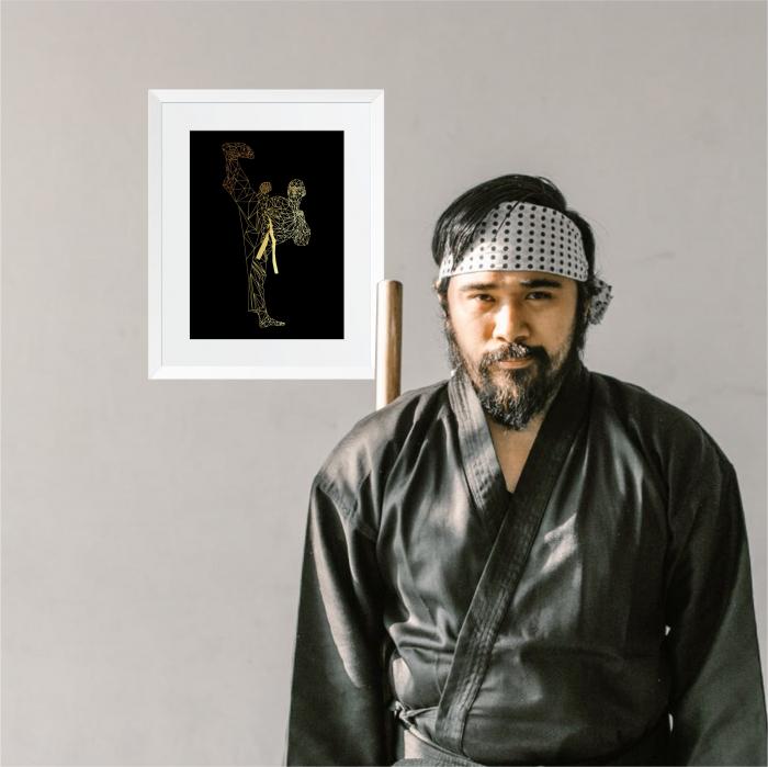 Tablou Luptator, arte martiale, colaj metalic auriu, inramat, 24x30 cm [4]