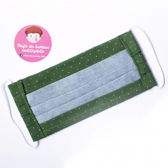 Masca reutilizabila, Verde cu buline albe 3