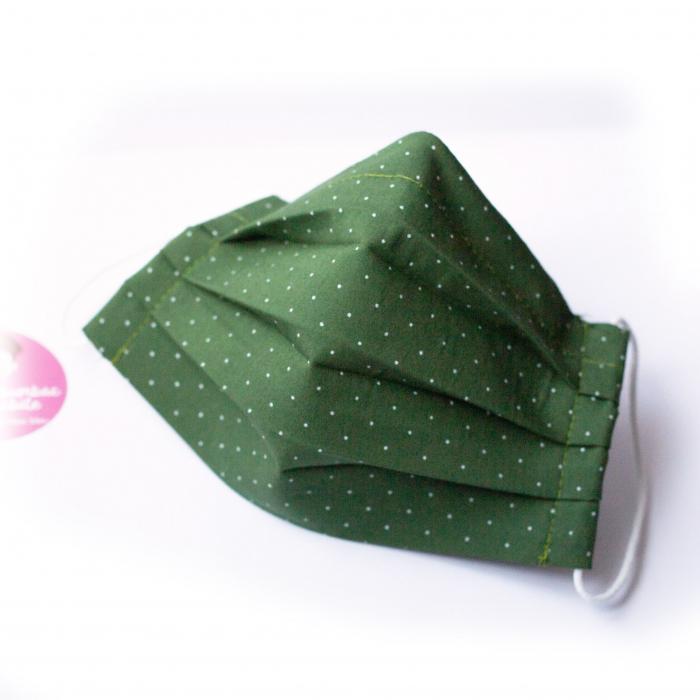 Masca reutilizabila, Verde cu buline albe 0