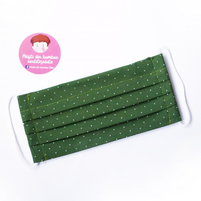 Masca reutilizabila, Verde cu buline albe 1