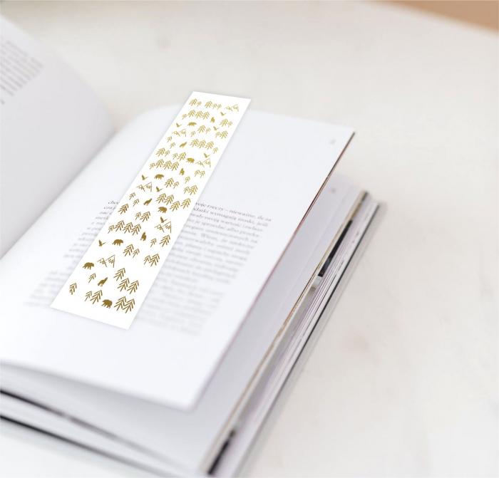 Munti, semn de carte cu colaj metalic auriu 1