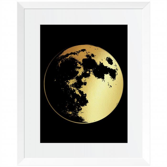 Pachet cadou - Set 2 tablouri, Luna, Astru ceresc, colaj manual auriu stralucitor, 24X30cm/buc 1
