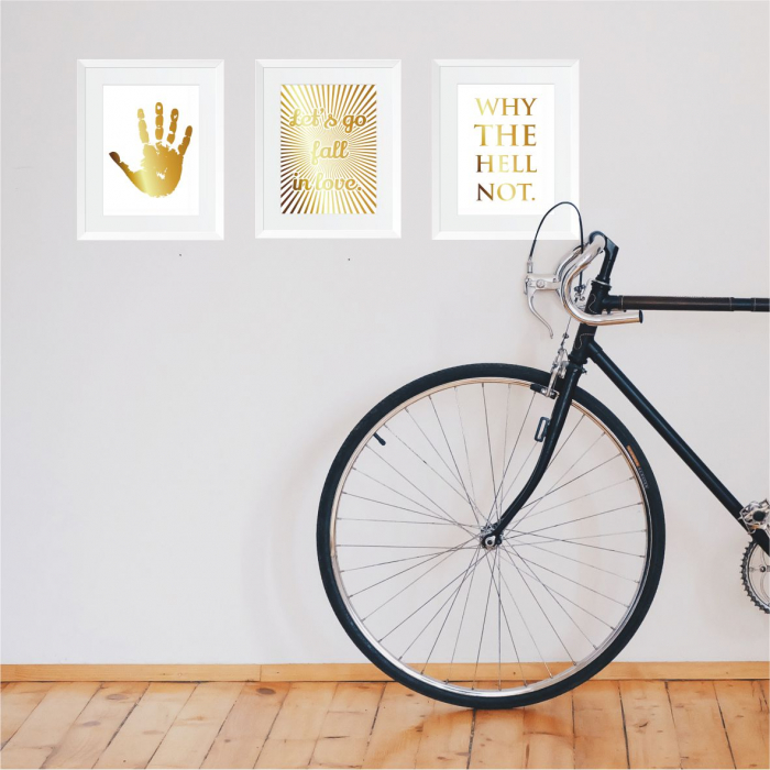 Set cadou 3 Tablouri Atitudine, colaj manual auriu, citat motivational, 24x30cm/buc 4
