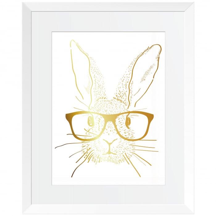 Set cadou 3 Tablouri Rabbit went home, colaj metalic auriu, 3 piese 24x30cm/buc 3