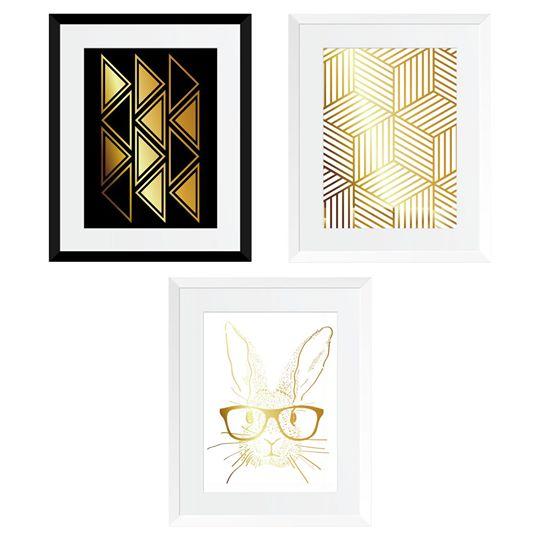 Set cadou 3 Tablouri Rabbit went home, colaj metalic auriu, 3 piese 24x30cm/buc 0
