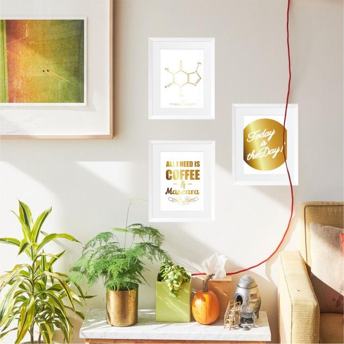 Set 3 tablouri, Good Vibes, mesaj inspirational, inramate, colaj auriu, 24x30cm/buc 0
