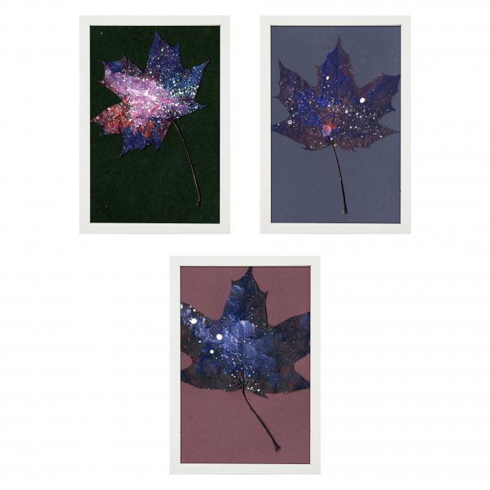 Set Cadou, Calea Lactee, set 3 mici tabouri pictate manual, frunze de artar, vopsea acrilica 0