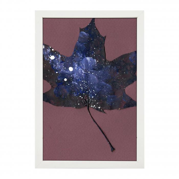 Set Cadou, Calea Lactee, set 3 mici tabouri pictate manual, frunze de artar, vopsea acrilica 3