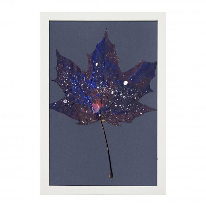 Set Cadou, Calea Lactee, set 3 mici tabouri pictate manual, frunze de artar, vopsea acrilica 2
