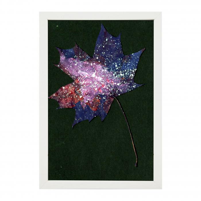 Set Cadou, Calea Lactee, set 3 mici tabouri pictate manual, frunze de artar, vopsea acrilica 1