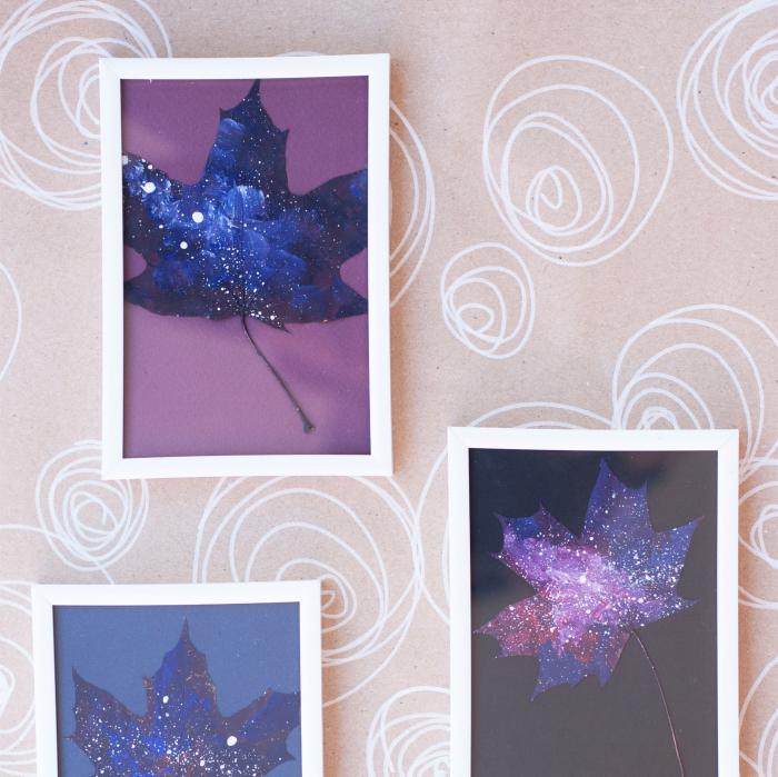 Set Cadou, Calea Lactee, set 3 mici tabouri pictate manual, frunze de artar, vopsea acrilica 4