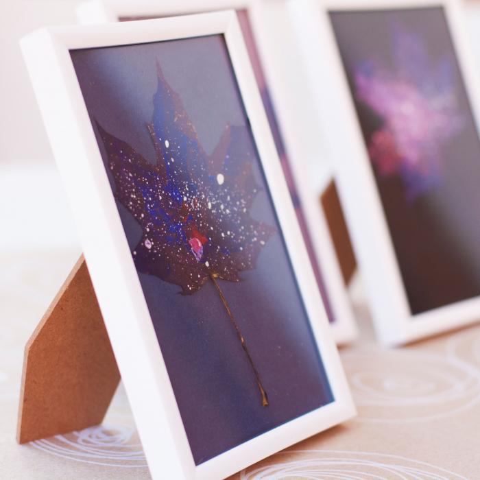Set Cadou, Calea Lactee, set 3 mici tabouri pictate manual, frunze de artar, vopsea acrilica 5