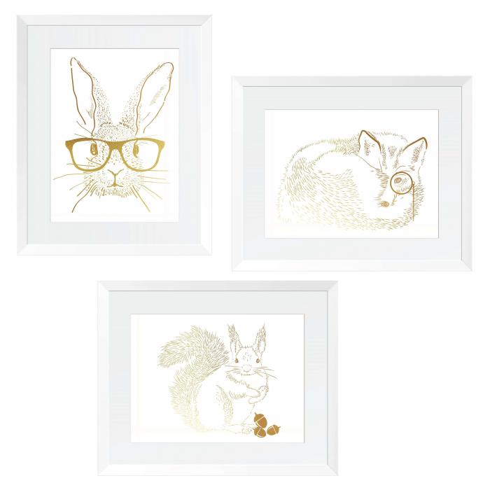 Set 3 tablouri, Veverita, Vulpea si Iepurele, ilustratie originala, animalele padurii, inramate, dimensiune 24x30cm/buc 0