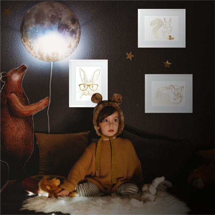 Set 3 tablouri, Veverita, Vulpea si Iepurele, ilustratie originala, animalele padurii, inramate, dimensiune 24x30cm/buc 9