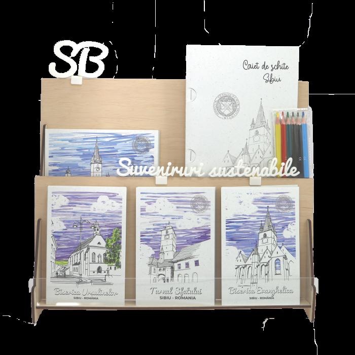 Stand cu 4 seturi de carti postale si 1 set caiet de schite, Sibiu 0