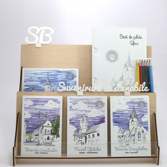 Stand cu 4 seturi de carti postale si 1 set caiet de schite, Sibiu 10