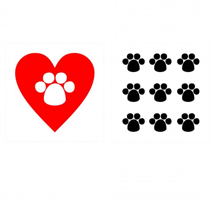 Sticker auto Animal Love, 15x15cm x 2 foi, rezistent la uzura 0