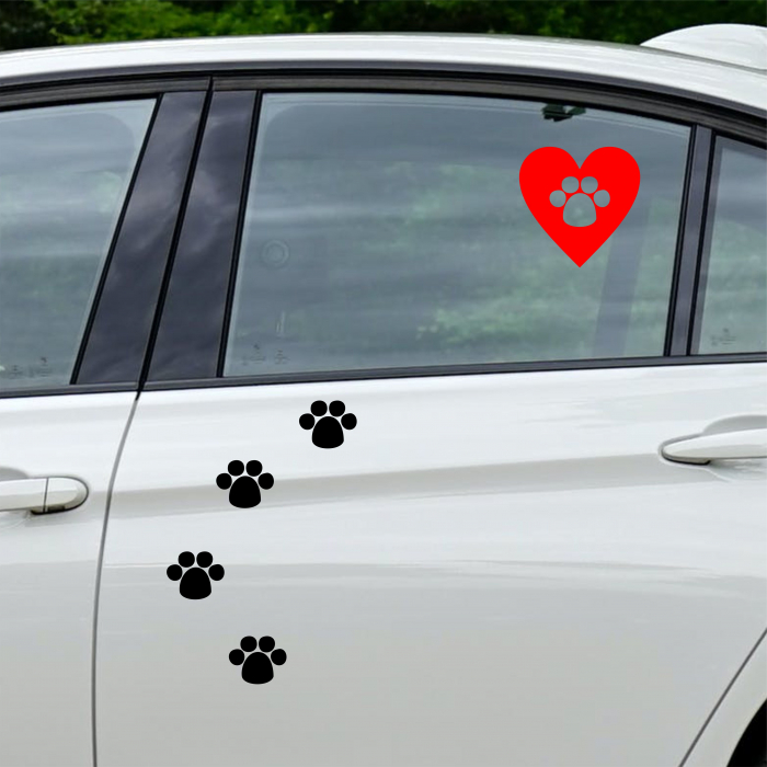 Sticker auto Animal Love, 15x15cm x 2 foi, rezistent la uzura 3