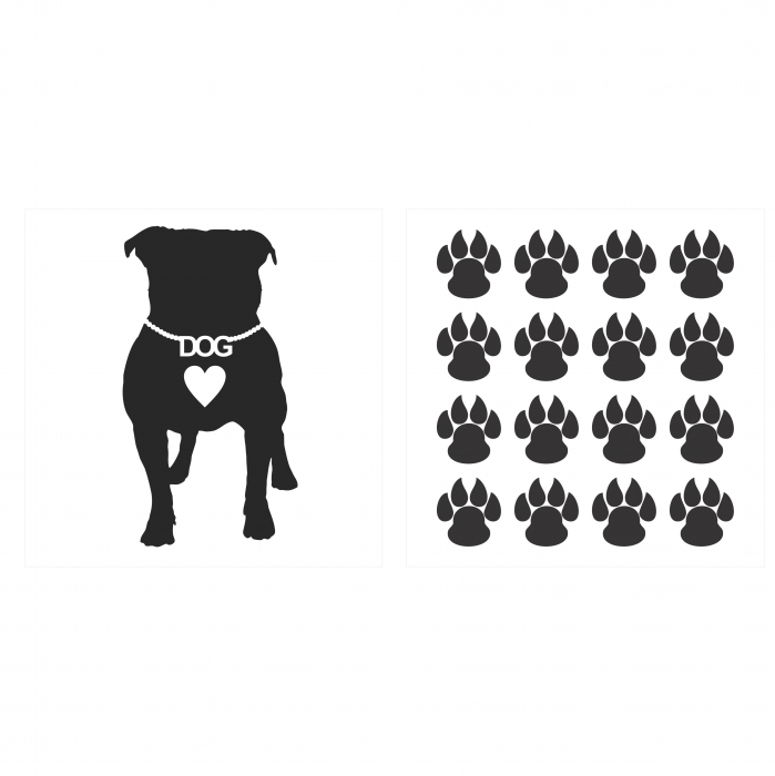 Sticker auto Dog Love, 15x15cm x 2 foi, rezistent la uzura [0]