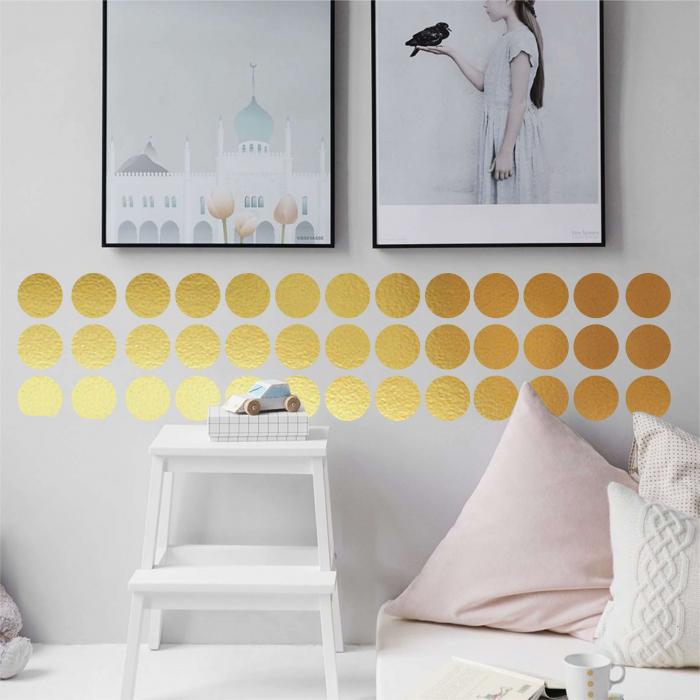 Sticker decorativ decupat, Buline aurii, marca Anais - Beautiful inside, pentru interior, 50 bucati/set 3