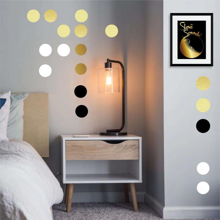 Sticker decorativ decupat, Buline aurii, marca Anais - Beautiful inside, pentru interior, 50 bucati/set 2