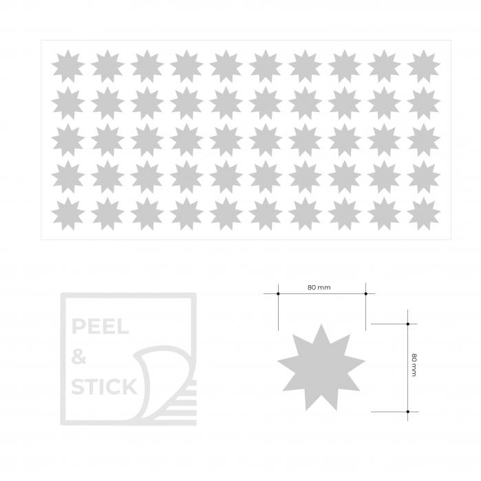 Sticker decupat, Stele, pentru interior, 50 bucati/set 4